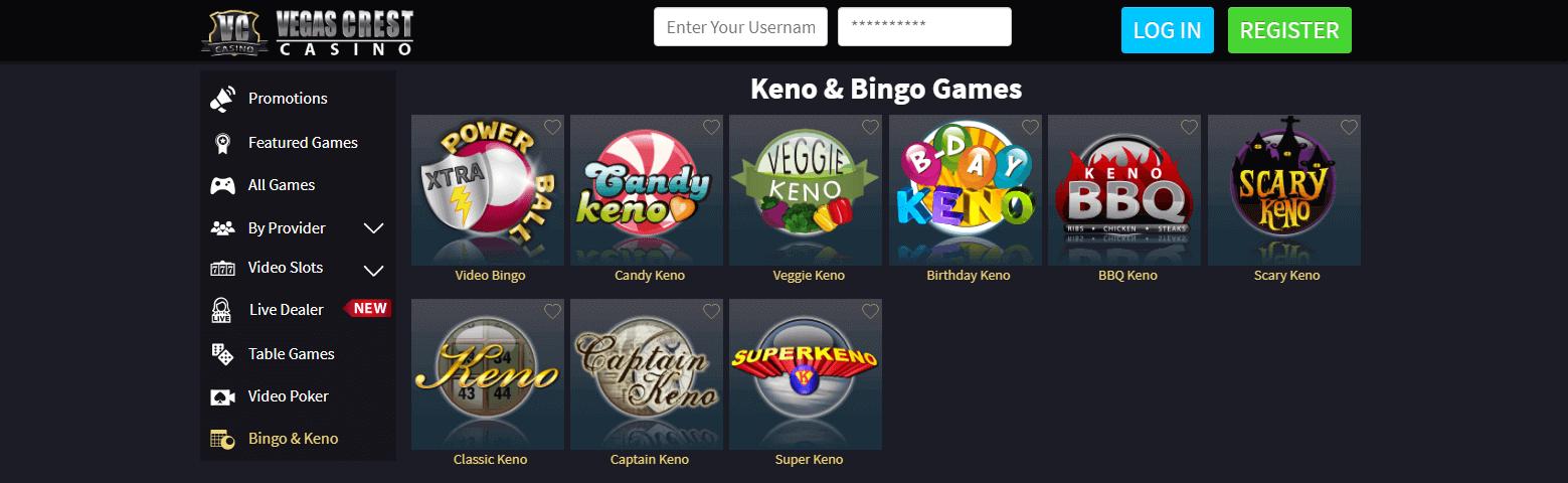 Live multiplayer Bingo rooms and Keno