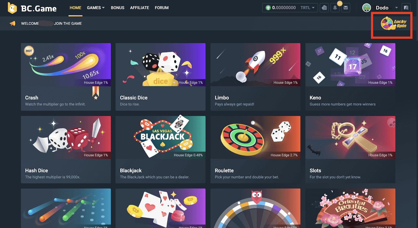 Various Games @BC.Game Casino